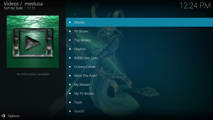 Medusa Kodi add-on is now successfully installed