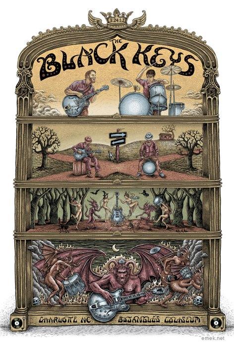 Black Keys at Charlotte poster by EMEK, 2012