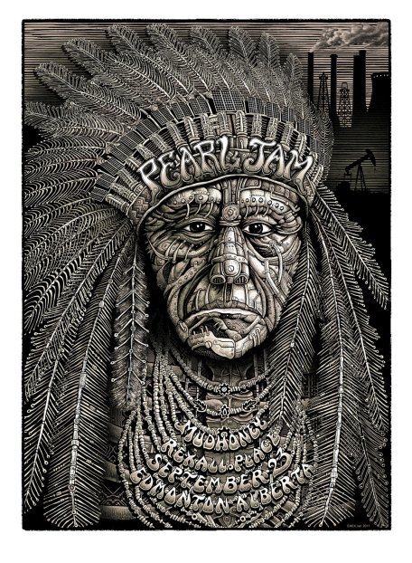 Pearl Jam at Edmon­ton poster by EMEK, 2011