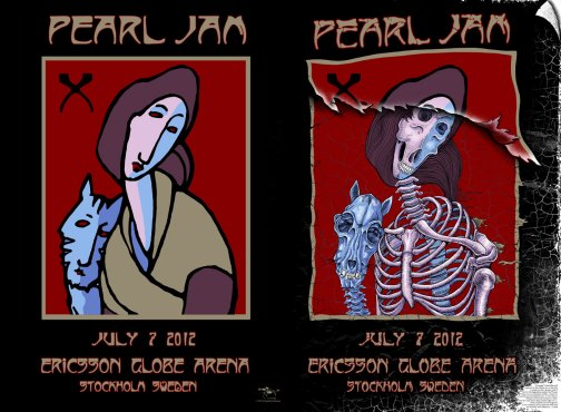 Pearl Jam at Stockholm rock poster by EMEK and Stanley Mouse, 2012