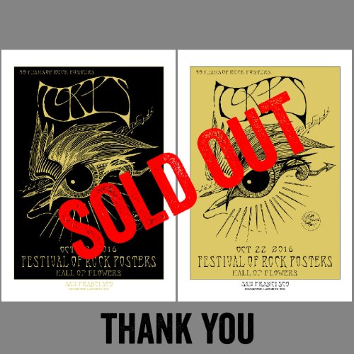 Festival of Rock Posters 2016 silkscreen event posters by Stanley Mouse printed by Gary Houston of Voodoo Catbox - Sold Out