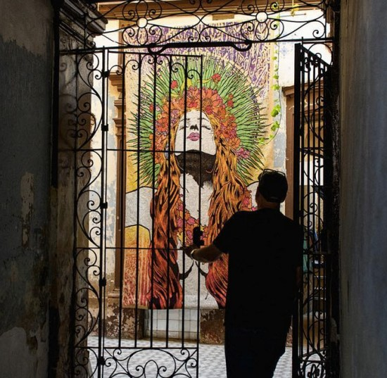 """Thalia"" tapestry at Taller Mexicano de Gobelinos in Guadalajara, Mexico. Photo by Shaun Roberts."