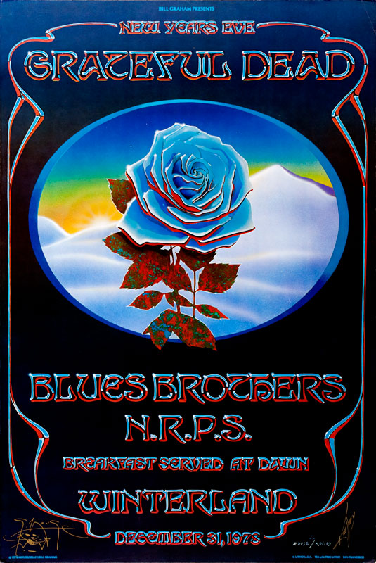 Blue Rose poster by Stanley Mouse & Alton Kelley 1978 (AOR 4.38)