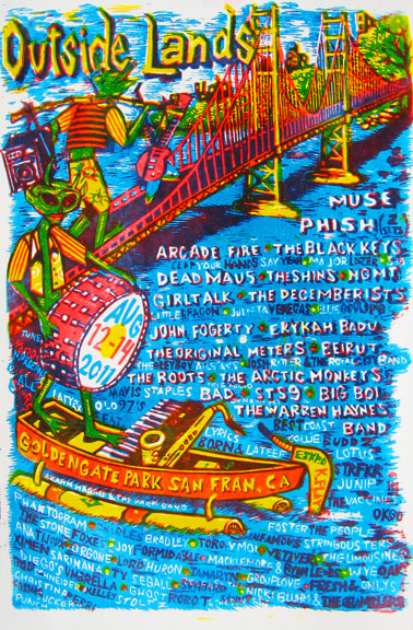 Jim Pollock contributed this linocut, in an edition of 650, for 2011, the year Phish was one of the headliners.