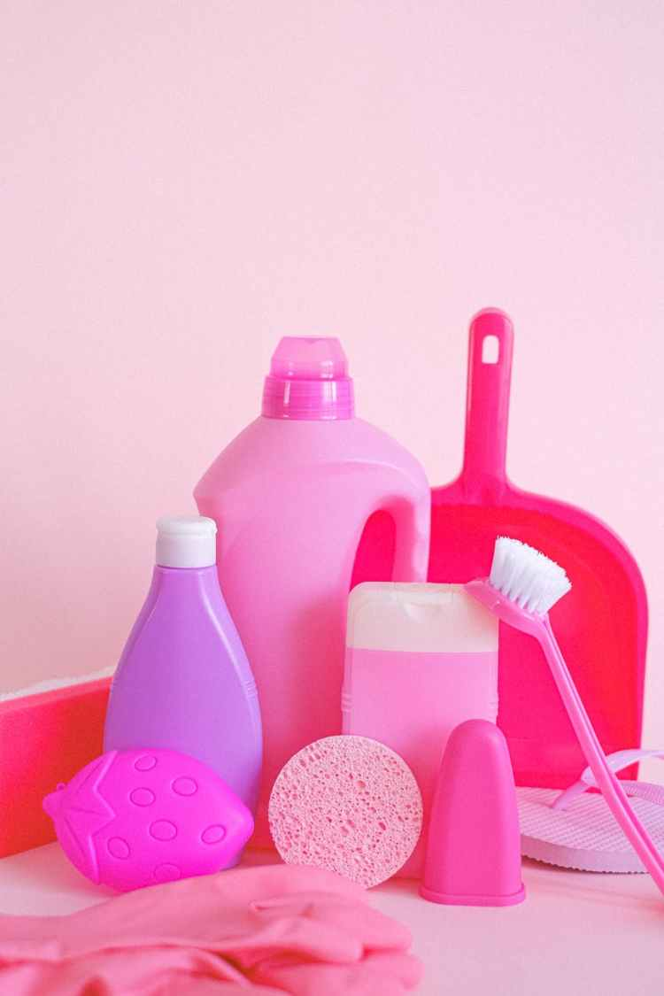 plastic bottles and cleaning supplies for washing