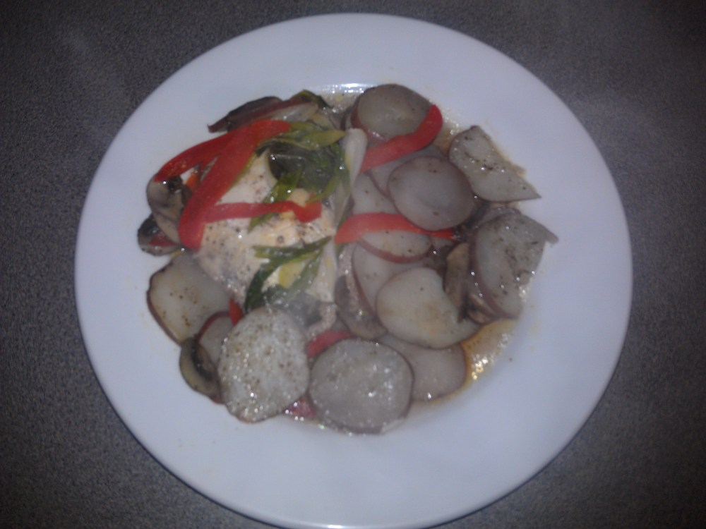 Healthy Baked Chicken Or Fish, Meal In A Foil Pouch; Recipe (1/5)