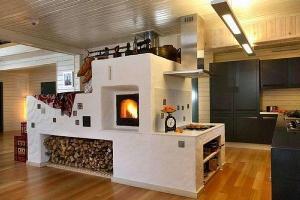 Фото – дровяная печь для загородного коттеджа
