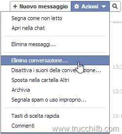 Elimina conversazione Facebook