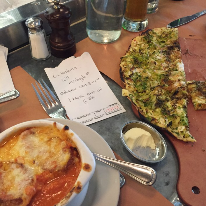 Our bartender wrote out info on a live jazz bar. Yep, that;s Brussel sprouts on a pizza.