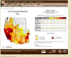 April 3, 2014 Drought Monitor for the Western USA