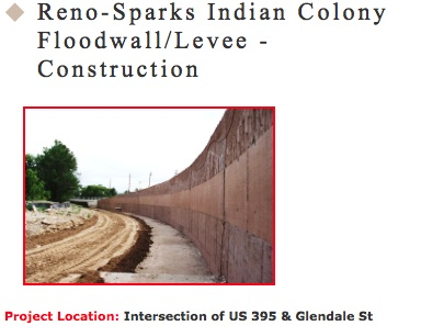 Floodwall near Walmart constructed on Reno-Sparks Indian Colony Lands in 2009