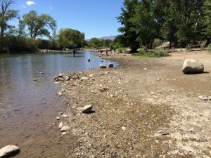 Low flows at Rock Park on the Truckee River August 18, 2014.