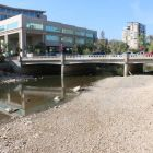 Truckee River looking upstream from Lake Street Bridge in Reno on 9/16/2014