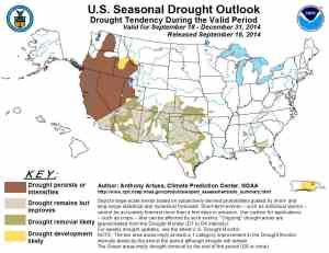 "NOAA's National Climate Prediction Center shows the drought ""persisting or intensifying over California and Nevada through the end of 2014."
