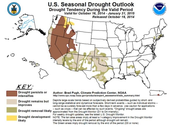 Drought Outlook through January 31, 2015.