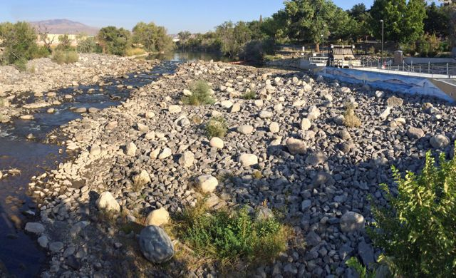 Truckee River is reduced to a trickle after the Glendale Water Treatment facility takes on water from the river just above the bridge.