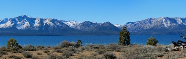 Looking toward the west shore of Lake Tahoe from Nevada Beach shows a dismal snow pack in the Sierra on January 20, 2015. January should be a good month for storms, but none have materialized.