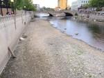 Truckee River in downtown Reno trickles under the Virginia Street Bridge in late 2014.