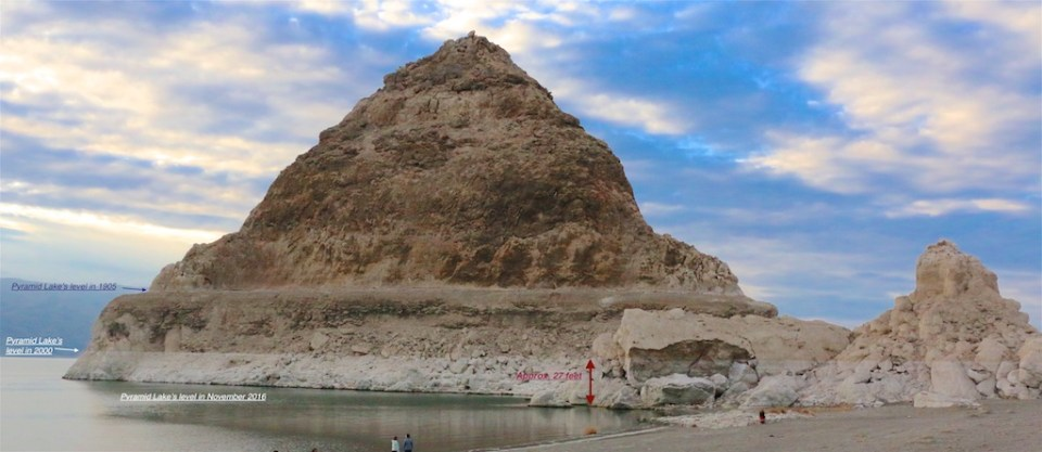Pyramid at Pyramid Lake changes over recent decade and a half are dramatic