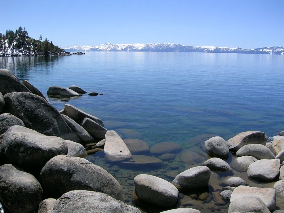 Lake Tahoe in April 2006; Tahoe was nearly at its maximum water surface elevation on July 3 of that year.