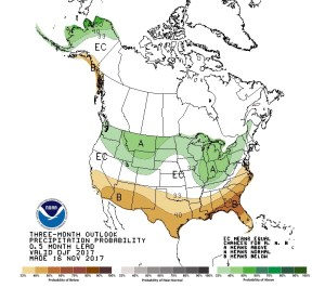 NOAA precipitation forecast probabilities for Dec 17-Feb 18