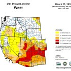 Drought Map for 3-29-2018 - On the edge of the drought the map appears to exclude the Truckee River and Tahoe Basins - at least for now.