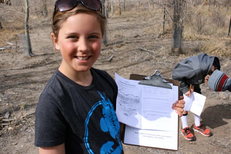 Audrey and her drawing of the Truckee River. McCarran Ranch, Mar. 10, 2015.