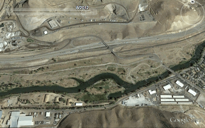 Lockwood Trailhead in 2012, four years after restoration: Note the change in river channel location. Photo from Google Earth.
