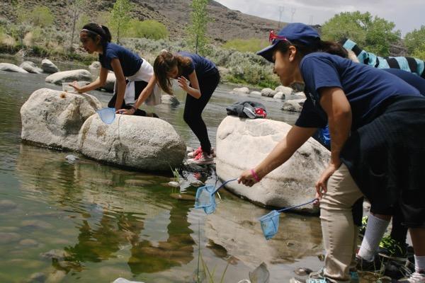 Dry toes. Naturalists at work, McCarran Ranch. May 21, 2015.