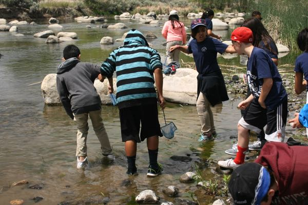Wet feet. Students from Alice Smith Elementary explore the Truckee River at McCarran Ranch. May 21, 2015.