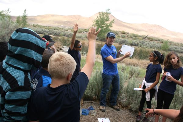 Instructor Sean Hill leads a group of Sierra Nevada Journeys students at McCarran Ranch. May 21, 2015.