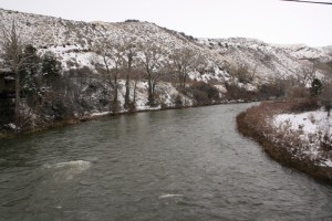 View of the Truckee River from the bridge at east end of Mayberry Park bike trail.