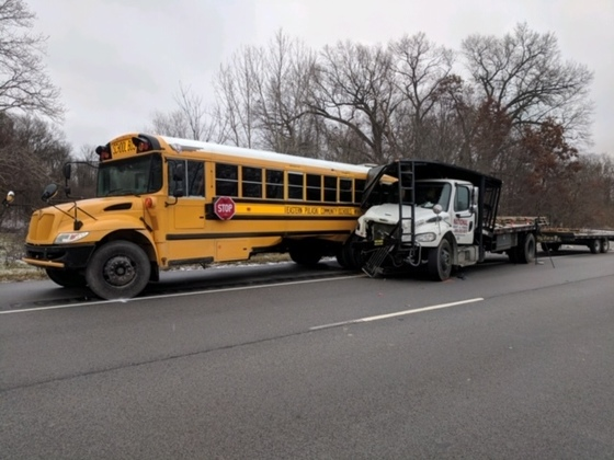 school bus hit by truck