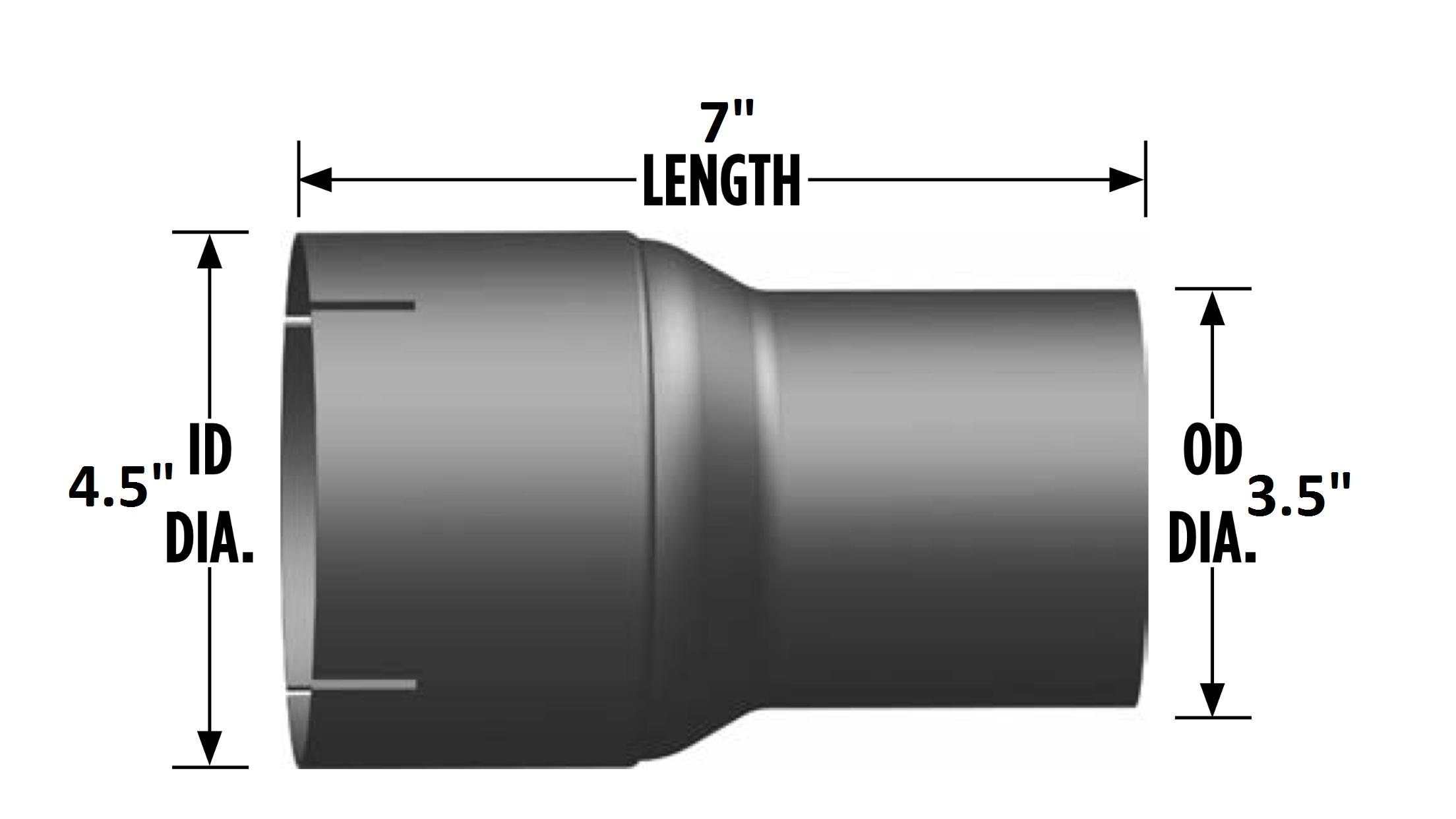 3 5 4 5 o d i d expander exhaust pipe coupler 7 length