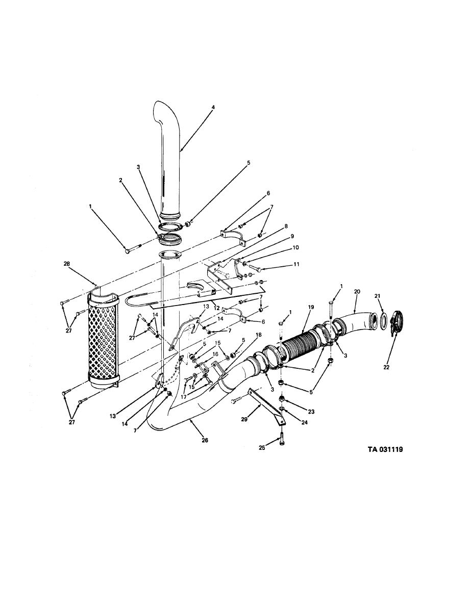Figure 47 engine exhaust pipes and stack pipe mounting clean air m35a2 engine specs m35a2 engine diagram