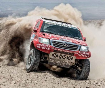 A Toyota Hilux fitted with the new Donaldson Powercore air filter at Dakar Rally 2015.