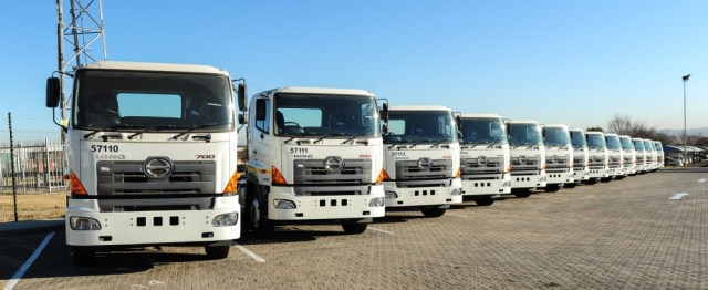 Hino 700-Series trucks being delivered
