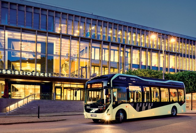 An electric Volvo city bus in Sweden.