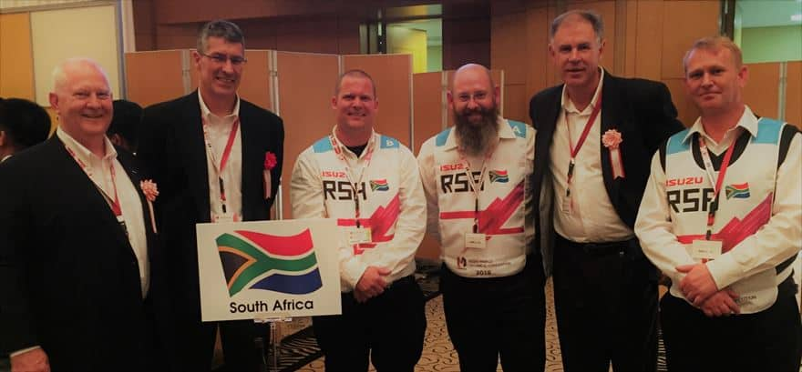 From left, Craig Uren IMSA Executive Officer Sales, Service and Marketing, Michael Sacke, IMSA MD and CEO, Donovan Murry, Bates Shelly Beach technician, Miles Swanepoel, Isuzu Truck Centre Cape Town technician, Wayne Osborne, IMSA General Manager, Training and Organisational Development and Stevan Smith, IMSA Field Service Engineer.