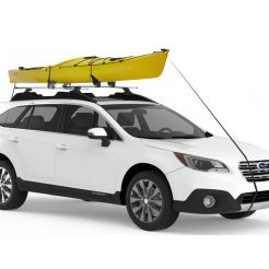 White SUV with a yellow canoe strapped to its roof