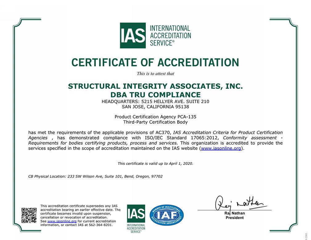 Certificate Of Accreditation Medium Tru Compliance