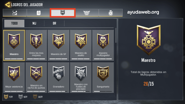 cod mobile medallas
