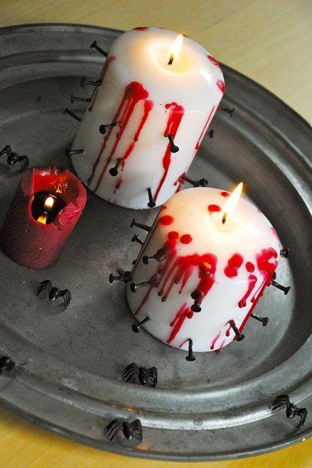 Decoración para Halloween casera: velas torturadas