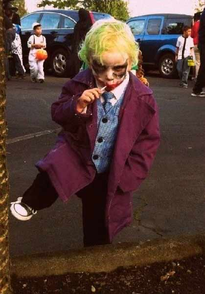 disfraz casero de halloween para niños de joker