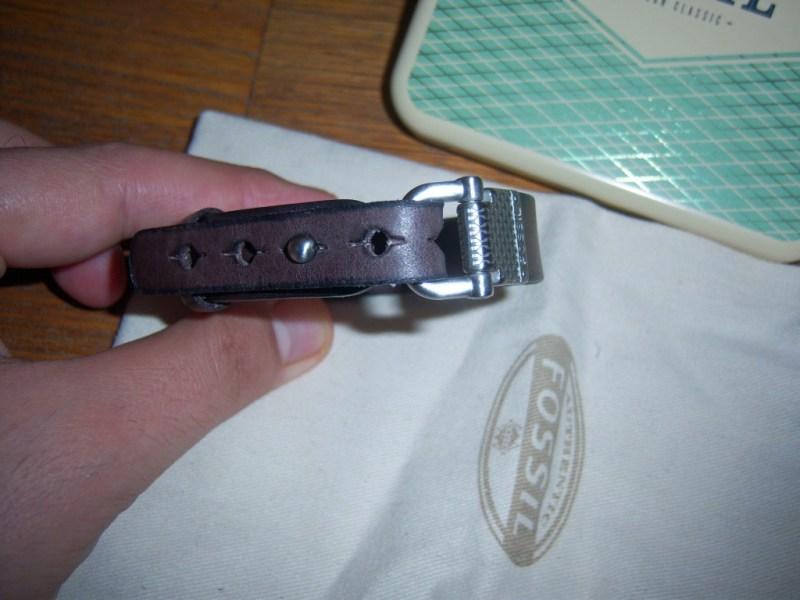 bracelet en cuir avec maillon fer à cheval Fossil