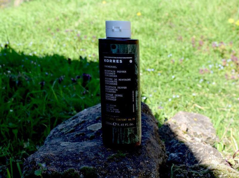 Test du gel douche pour homme Korres Mountain pepper Bergamot Coriander