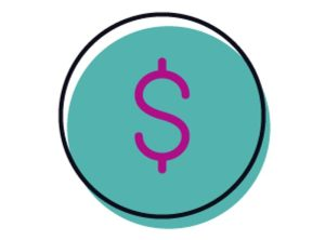 teal and purple dollar sign