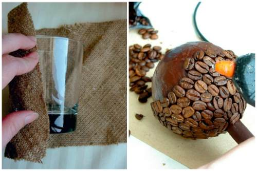 Potenciômetro de vidro e varas de grãos de café