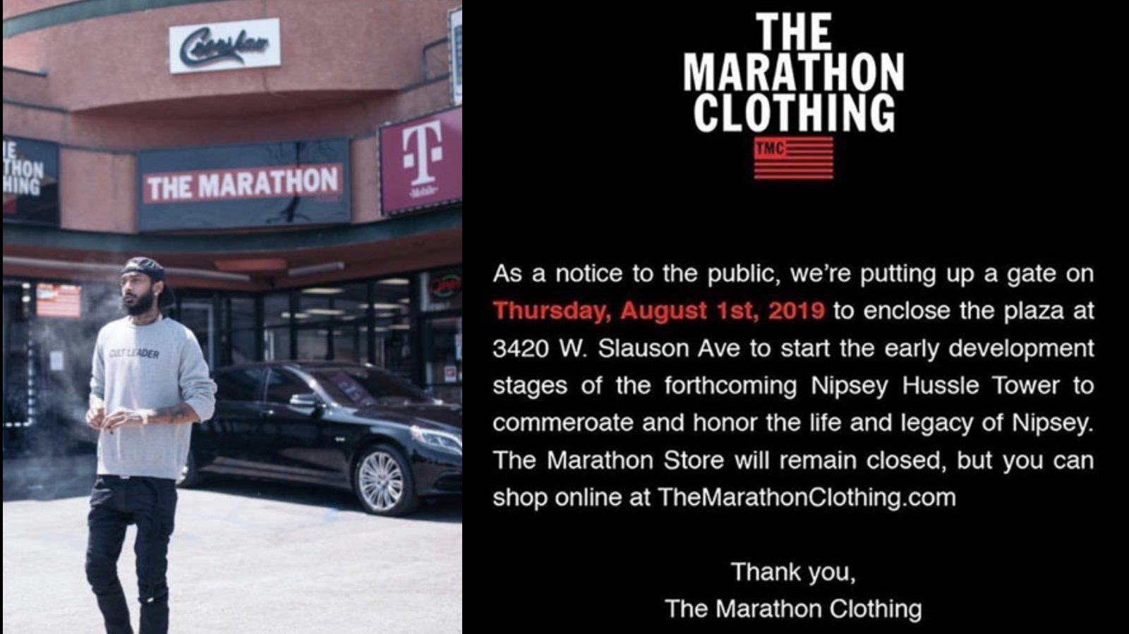 Nipsey Hussle's Marathon Store Closes, Tower Being Built To
