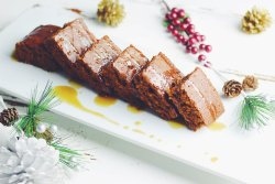 Easy Gingerbread Cake with warm caramel glaze